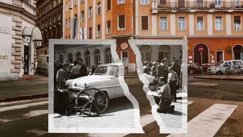 1965, Budapest, Széna tér, Ostrom utca - Vérmező út sarok, előtérben egy Opel Olympia típusú személygépkocsi | fortepan_56536