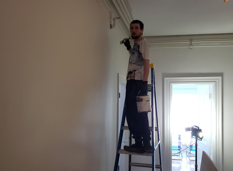 Upstairs trim and wall finishing!
