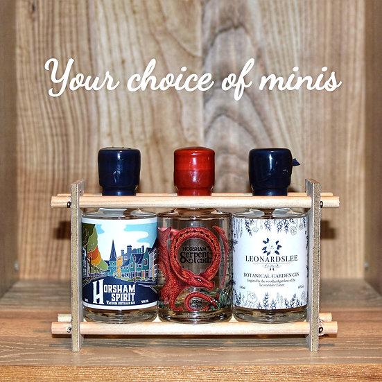Three Bottle Miniature Rack