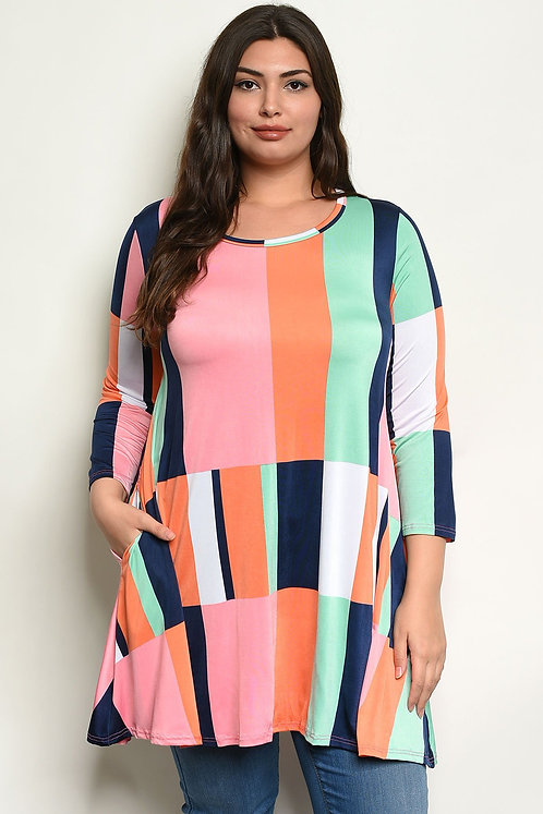Multi Color Plus Size Top