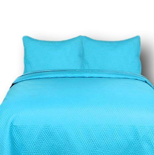 DaDa Bedding Gentle Wave Turquoise Teal Blue Lightweight Quilted Bedspread Set