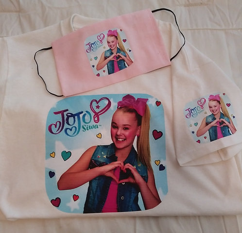 Kids JoJo Siwa T-Shirt & Face Mask set