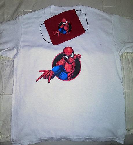 Mens Spiderman Face Mask & T-Shirt Set