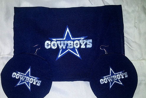 Cowboys Face Mask earrings set Dsgn#2