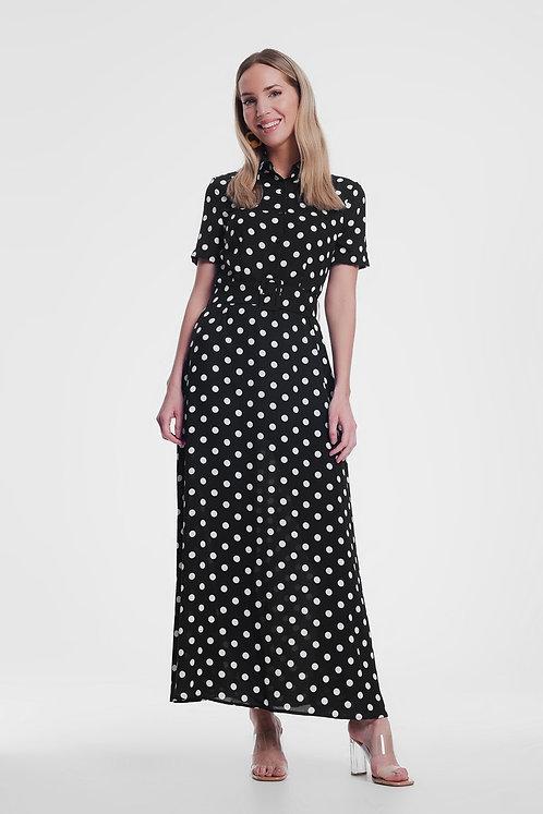 Black Maxi Shirt Dress in Mono Spot