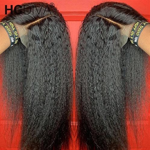 Kinky Straight Lace Wig Brazilian Remy Human Hair