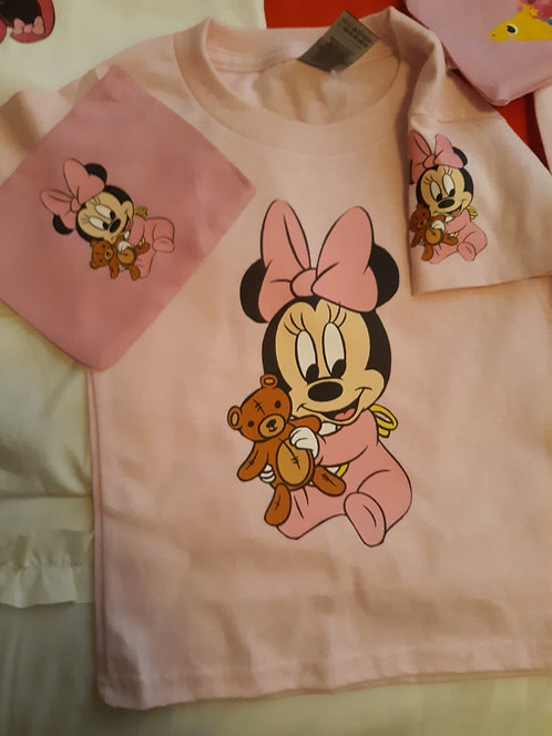 Baby Minnie Shirt & Face Mask set