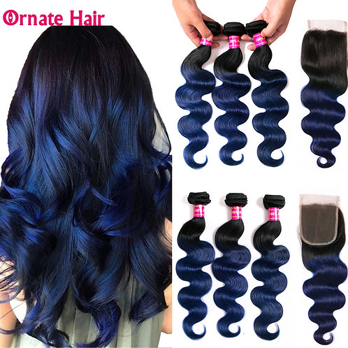 Ornate Malaysian Human Hair Bundles With Closure Middle Ratio