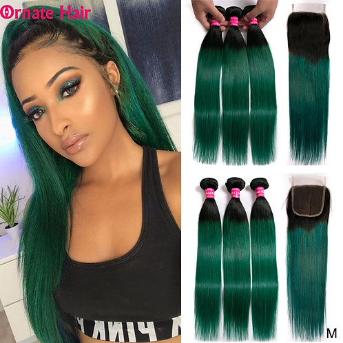 Ombre Brazilian Straight Hair Bundles With Closure Middle Ratio