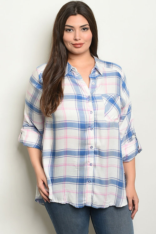 Womens Checkered Plus Size Top