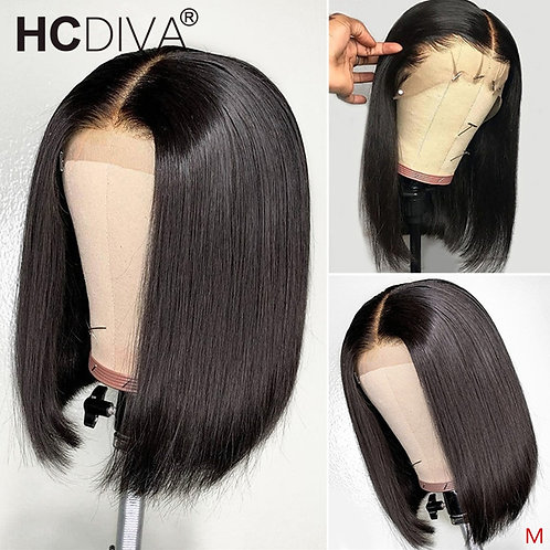 Short Bob Lace Wig 13*4 Lace Front Wig Brazilian Remy Human Hair With Baby Hair
