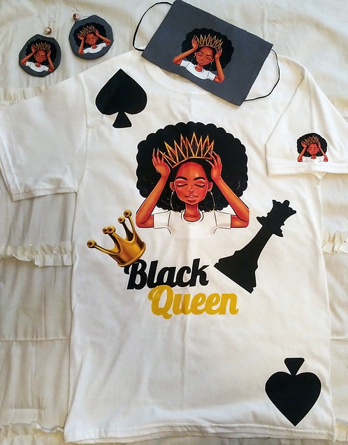 Black Queen Face Mask, Earring & T-Shirt Set