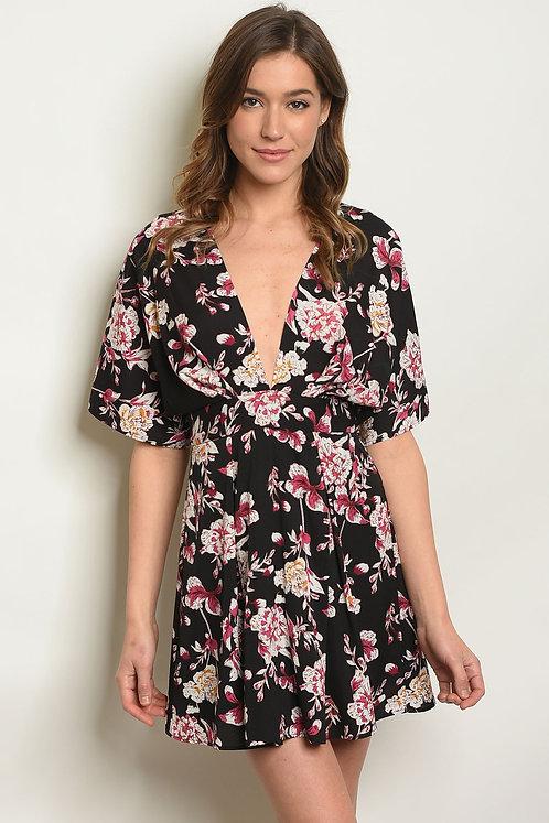 Womens Black W/ Flowers Print Dress