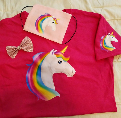 Kids Unicorn T-Shirt, Hair Bow, Face Mask set
