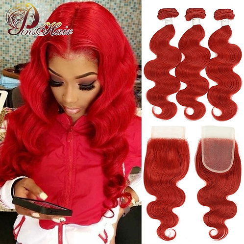 Pinshair Red Body Wave Bundles With Closure