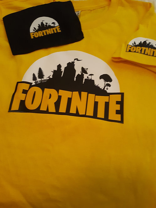 Yellow Font Fortnite Shirt & Face Mask set