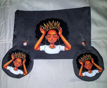 Black Queen Face Mask earrings set
