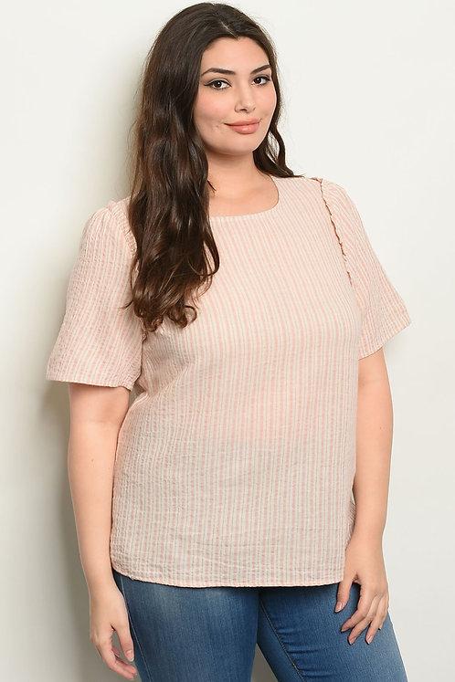 Womens Stripes Plus Size Top