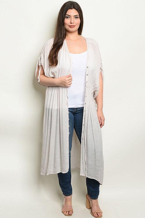 Taupe Plus Size Kimono