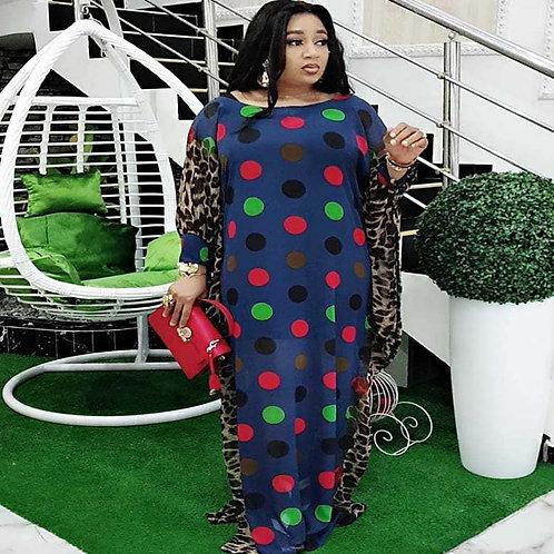Women Plus Size Chiffon Dress  Polka Dots