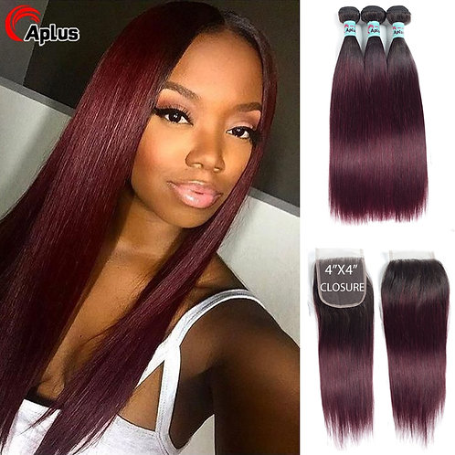 Straight Hair Bundles With Closure Ombre Human Hair