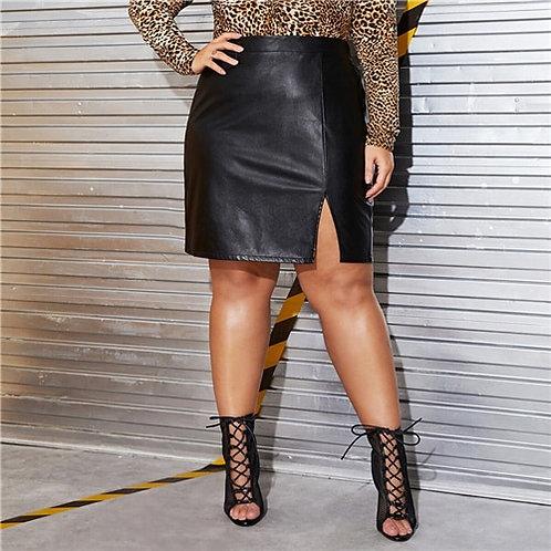 Black Split Mini Straight Skirts