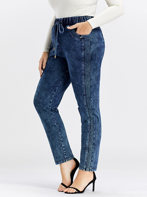 LIH HUA Women's Plus Size Casual Jeans  High Flexibility