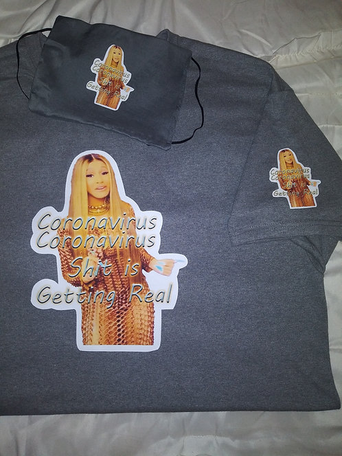 Cardi B #2 Face Mask, T-Shirt Set