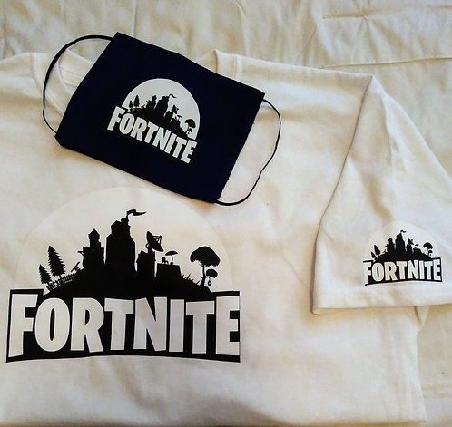 Mens Fortnite Face Mask & T-Shirt Set
