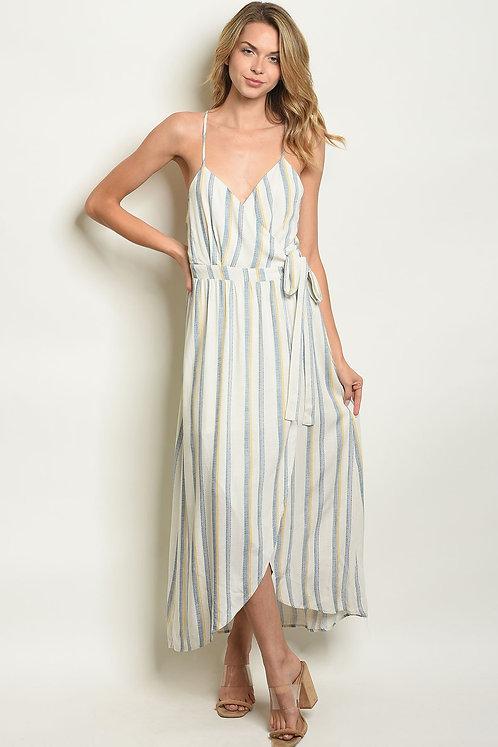 Womens Ivory Blue Stripes Dress