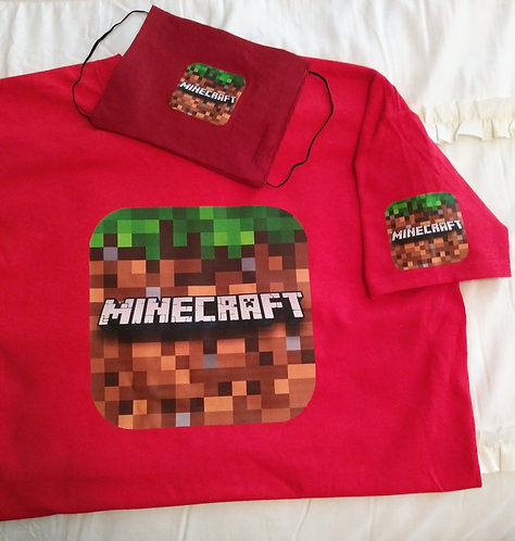 Kids Minecraft T-Shirt & Face Mask set