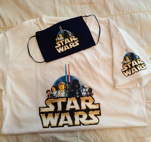 White Kids Starwars T-Shirt & Face Mask set