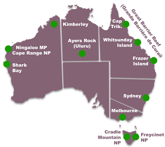 Carte des endroits incontournables en Australie