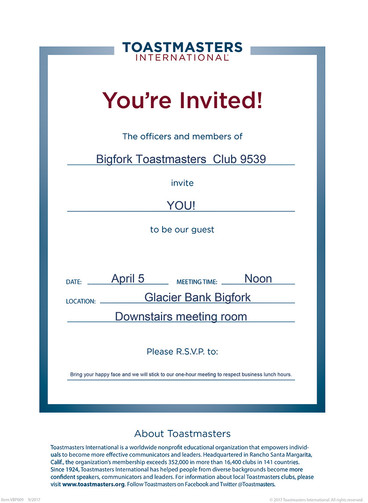 COME to Bigfork Toastmasters tomorrow APRIL 5 and CELEBRATE something BIG