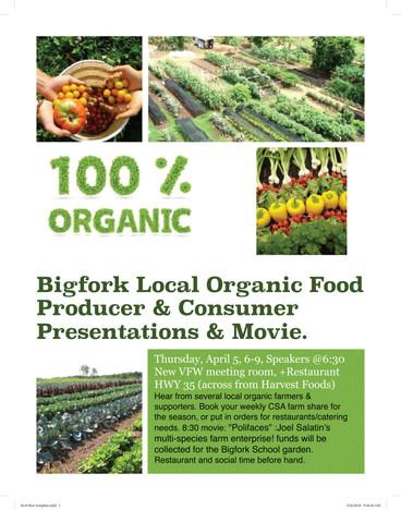 Meet Your Bigfork Organic Farmer and Consumer Night April 5