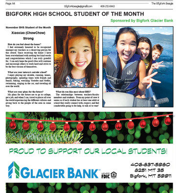 November BHS Student of the Month  Xiaoxiao (ShowShow) Strong