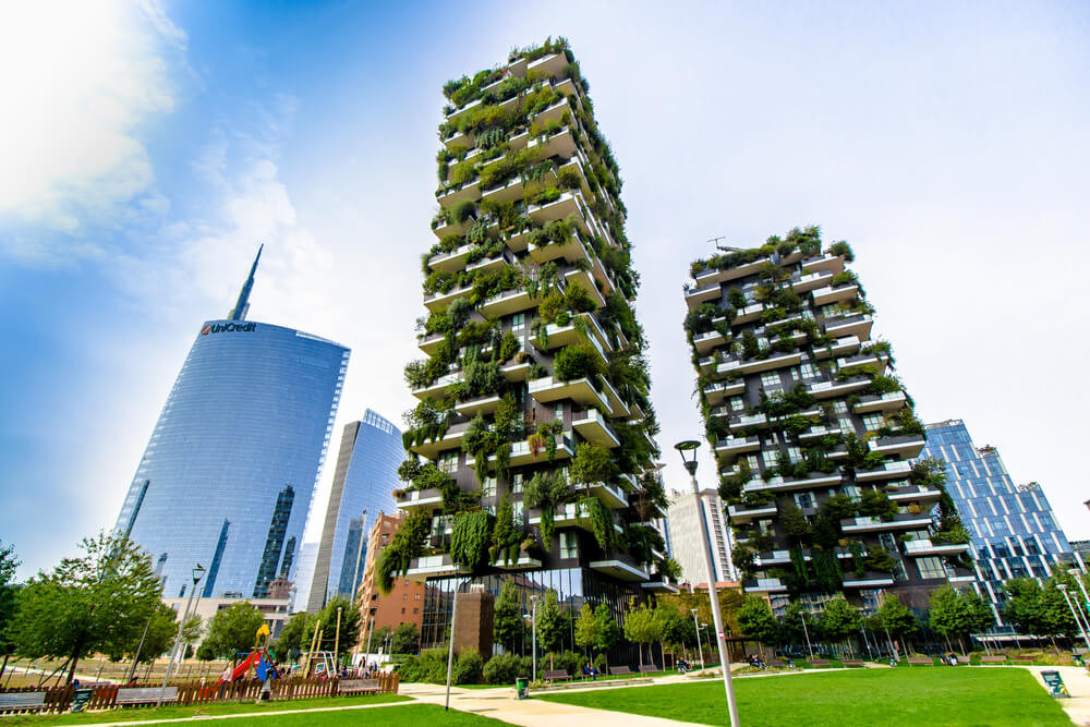 view of the Bosco Verticale in Porta Nuova,the business district of Milan
