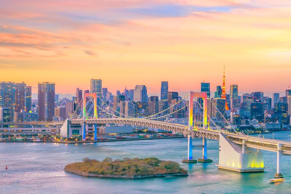 Tokyo Rainbow Bridge at sunset