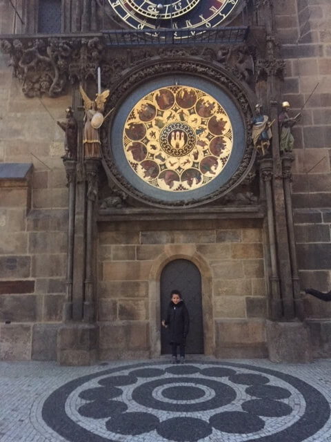 Loreva@ The Old Town Hall and behind her the famous Prague Astronomical Clock.Check our Instagram post if you wan to know more about it :)