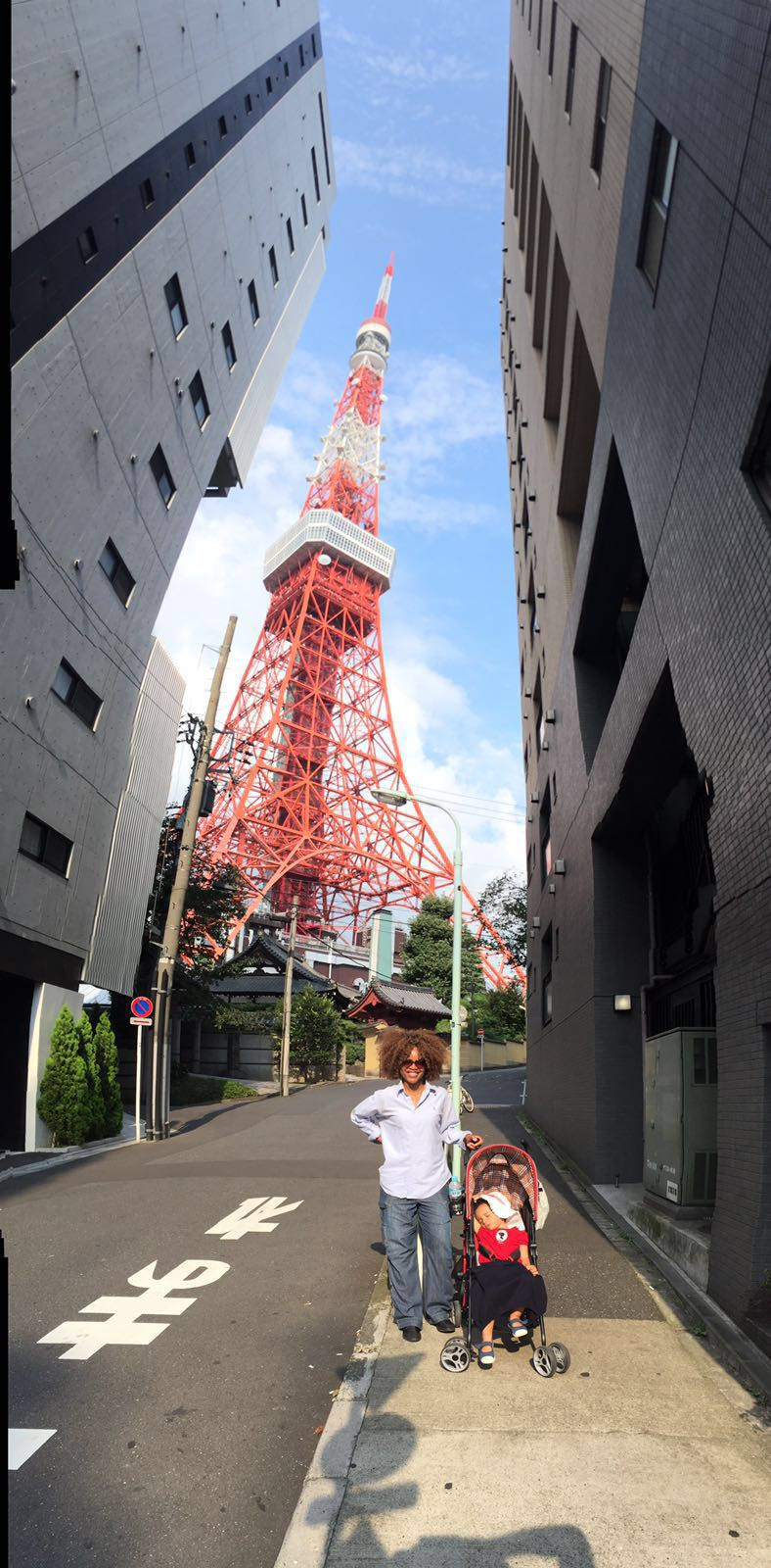 Mummy and I in Tokyo with Tokyo Tower behind in the Shiba-koen district of Minato
