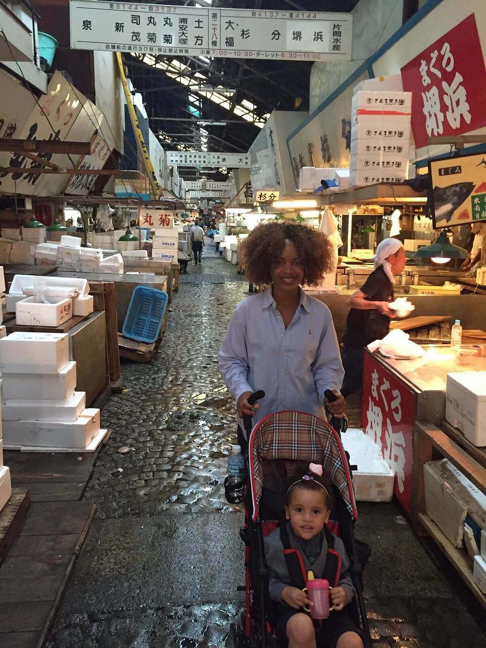 At Tokyo Tsukiji Market -(築地市場, Tsukiji shijō)
