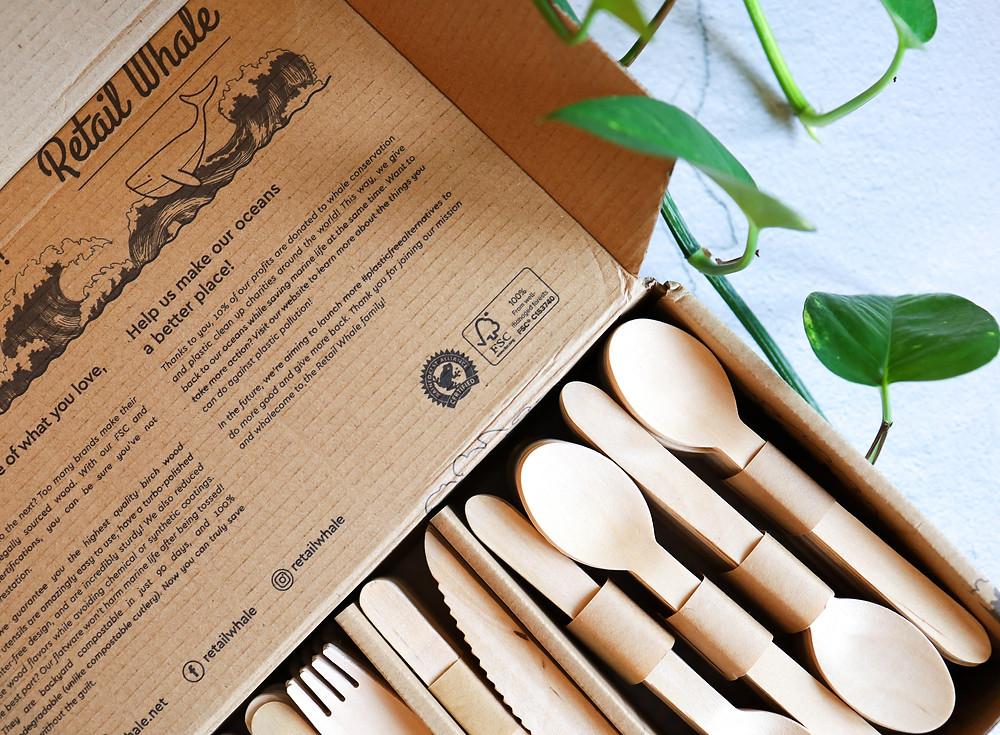 fsc certified wooden cutlery set by retail whale