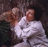 Carol holding 2 week old Baby Tiger cub