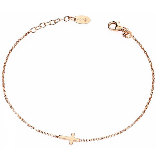 Sterling Silver Bracelet w/ One Cross - Rose