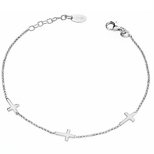 Sterling Silver Bracelet w/ Three Crosses