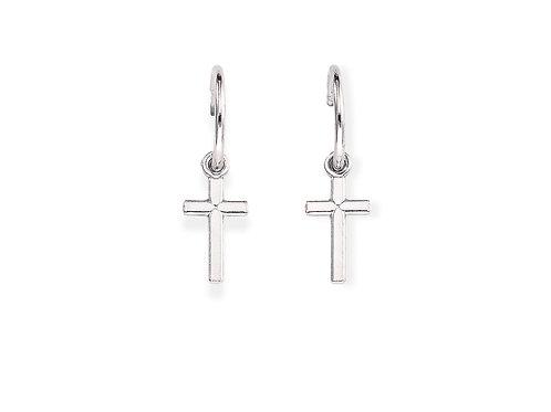 Sterling Silver Cross Earring w/ Hoop