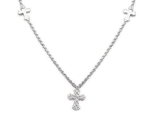 Sterling Silver Choker w/ Two Smooth Crosses and One Pave Cross