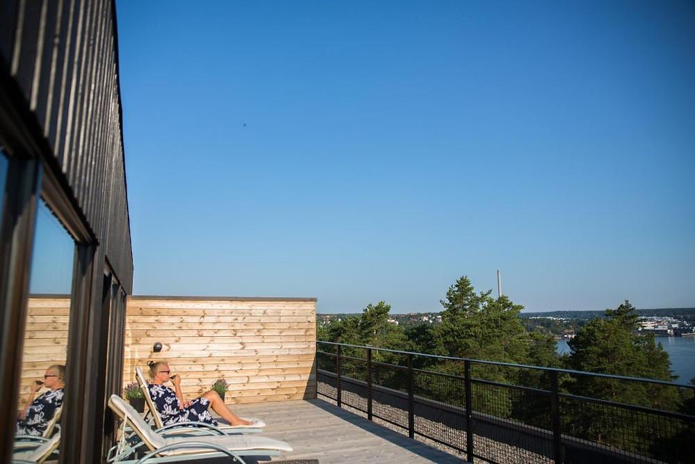 Utsikt fra terrassen på hotellrommet