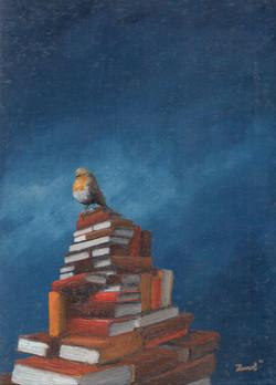 MARC VAN DER ZWET_roodborst op boekenberg op blauw 2_was_light