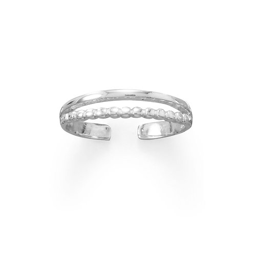 Two Row Bead and Band Toe Ring